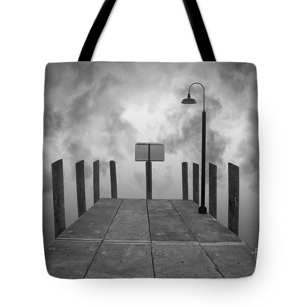 Dock And Clouds Tote Bag by David Gordon