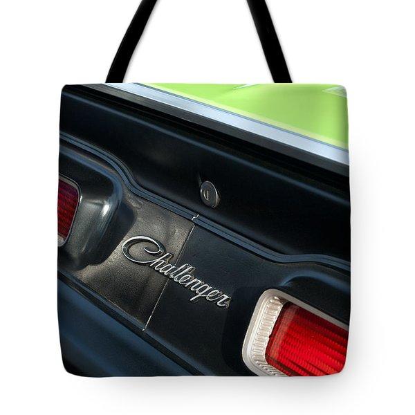 Dodge Challenger 440 Magnum RT Taillight Emblem Tote Bag by Jill Reger