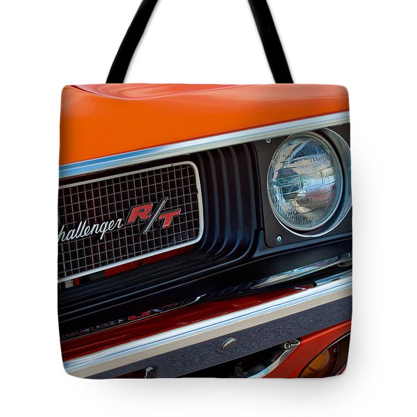 Dodge Challenger RT Grille Emblem Tote Bag by Jill Reger