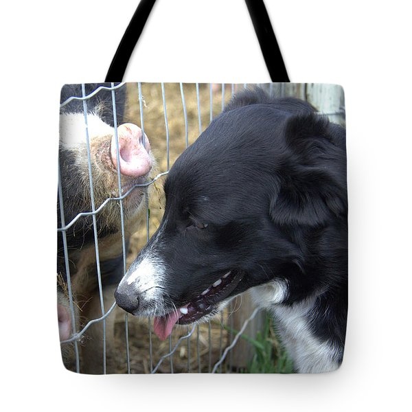 Dog And Pigs Tote Bag by Kathy Bassett