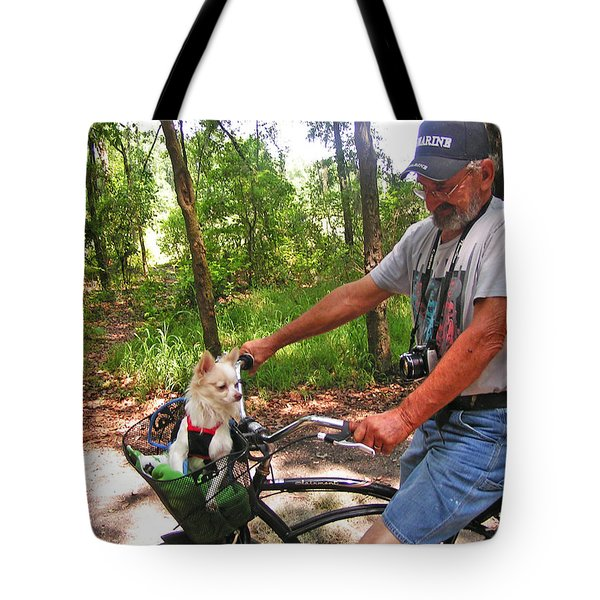 Dog In A Basket Tote Bag by Lenore Senior and Sharon Burger