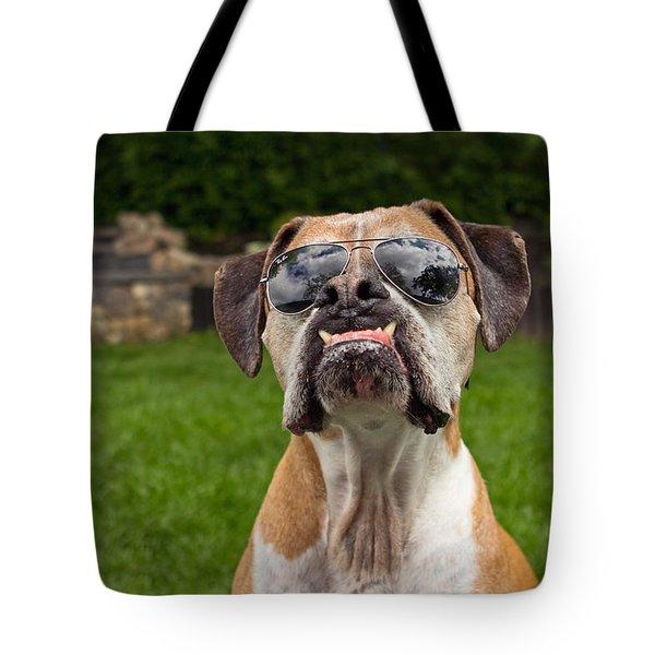 Dog Wearing Sunglass Tote Bag by Stephanie McDowell
