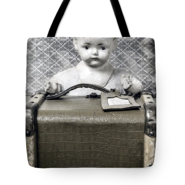 Doll In Suitcase Tote Bag by Joana Kruse