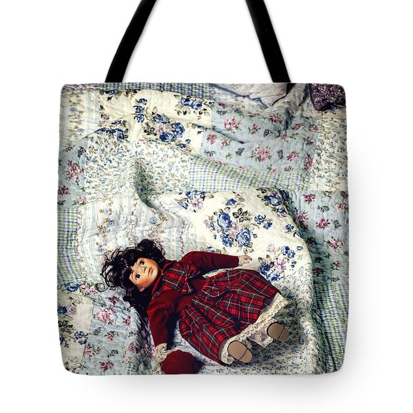 doll on bed Tote Bag by Joana Kruse