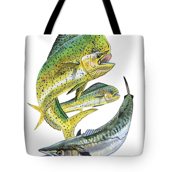 Dolphin Kingfish Tote Bag by Carey Chen