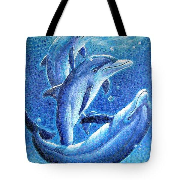 Dolphin Trio Tote Bag by Mia Tavonatti
