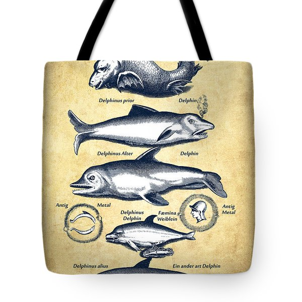 Dolphins - Historiae Naturalis - 1657 - Vintage Tote Bag by Aged Pixel
