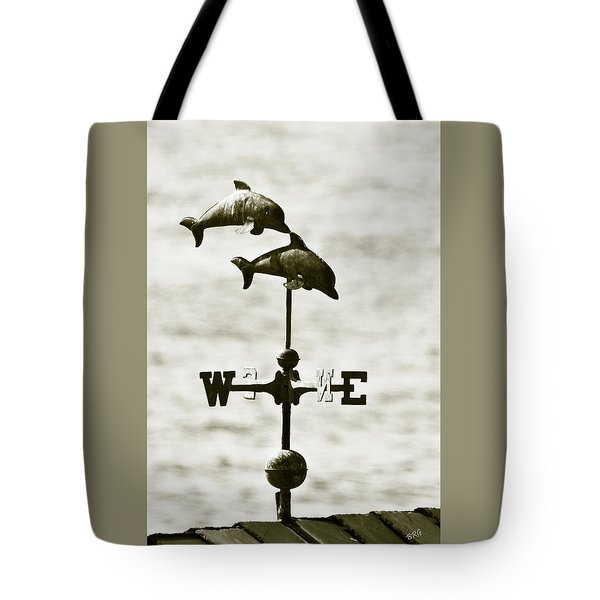 Dolphins Weathervane In Sepia Tote Bag by Ben and Raisa Gertsberg