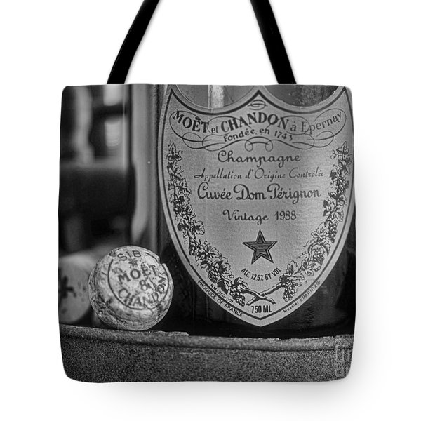 Dom Perignon In Black And White Tote Bag by Paul Ward