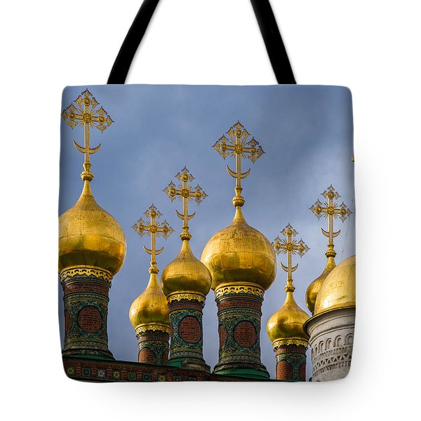 Domes Of The Church Of The Nativity Of Moscow Kremlin - Featured 3 Tote Bag by Alexander Senin