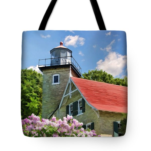 Door County Eagle Bluff Lighthouse Lilacs Tote Bag by Christopher Arndt