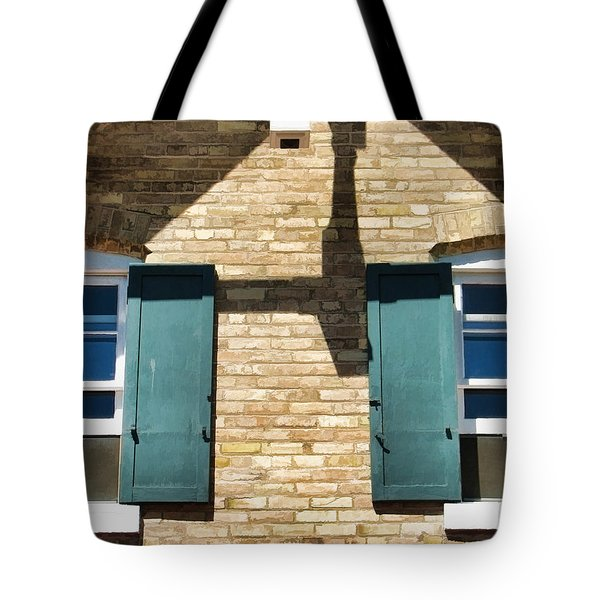Door County Eagle Bluff Lighthouse Shutters Tote Bag by Christopher Arndt