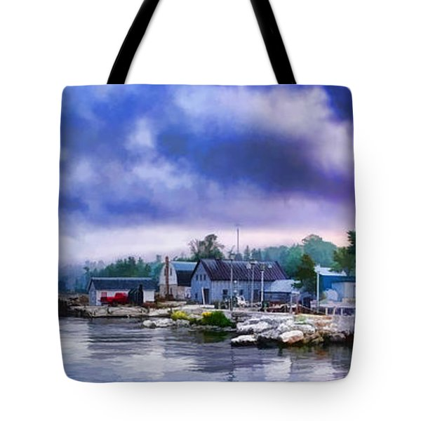 Door County Gills Rock Morning Catch Panorama Tote Bag by Christopher Arndt