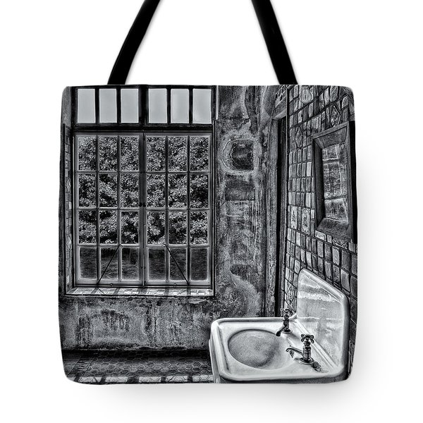 Dormer Bathroom Side View Bw Tote Bag by Susan Candelario