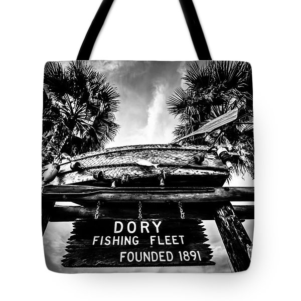 Dory Fishing Fleet Sign Picture In Newport Beach Tote Bag by Paul Velgos