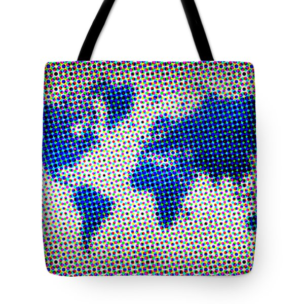 Dotted Blue World Map Tote Bag by Naxart Studio