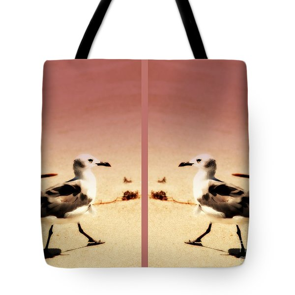 Double Gulls Collage Tote Bag by Susanne Van Hulst