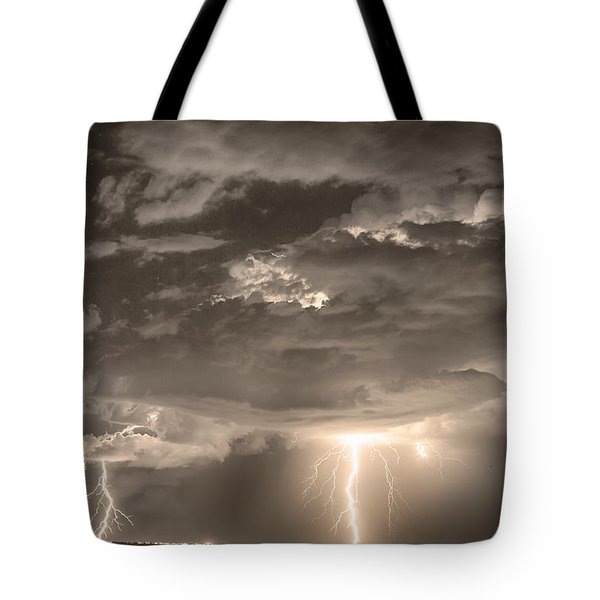 Double Lightning Strikes In Sepia Hdr Tote Bag by James BO  Insogna