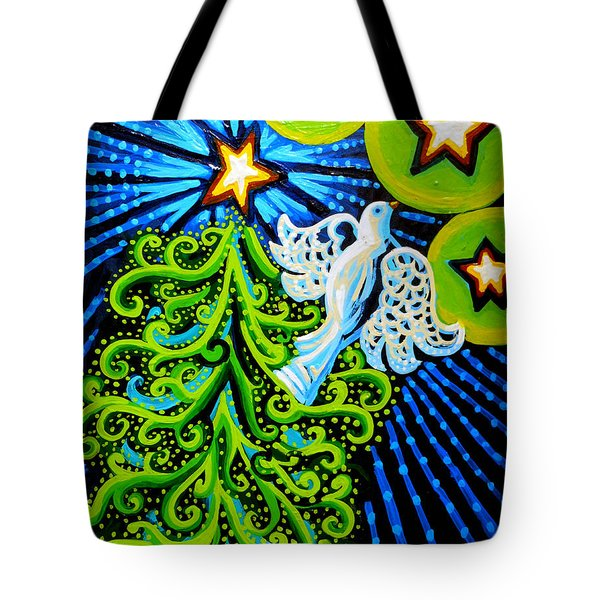 Dove And Christmas Tree Tote Bag by Genevieve Esson