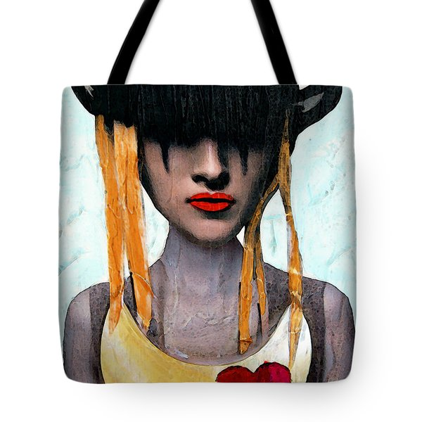 Down The Rabbit Hole - Close Up Mixed Media Art Tote Bag by Sharon Cummings