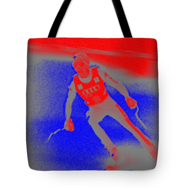Downhill Skier Tote Bag by George Pedro