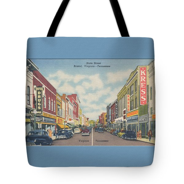 Downtown Bristol Va Tn 1940's Tote Bag by Denise Beverly
