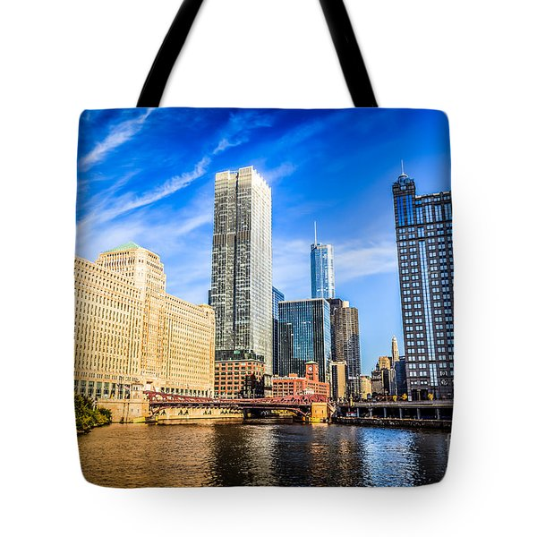 Downtown Chicago At Franklin Street Bridge Picture Tote Bag by Paul Velgos