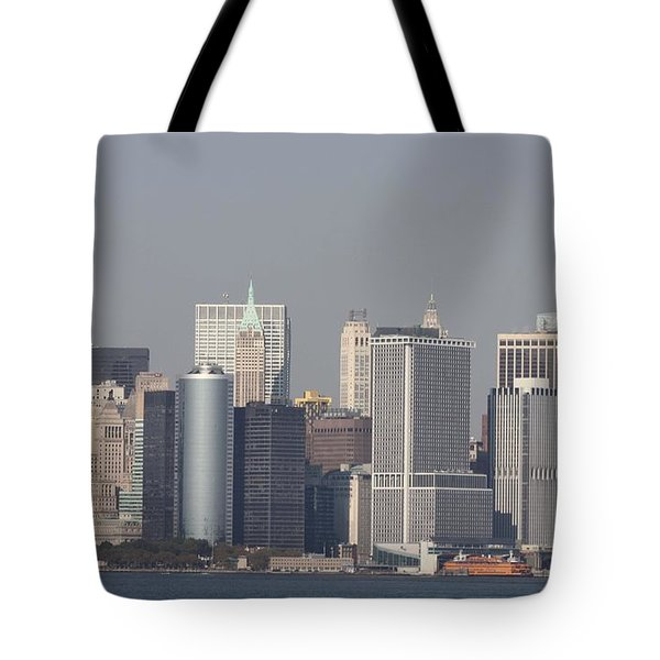 Downtown Manhattan Shot From The Staten Island Ferry Tote Bag by John Telfer