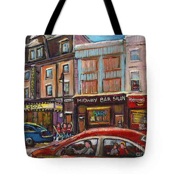 Downtown Montreal Streetscene Tote Bag by Carole Spandau