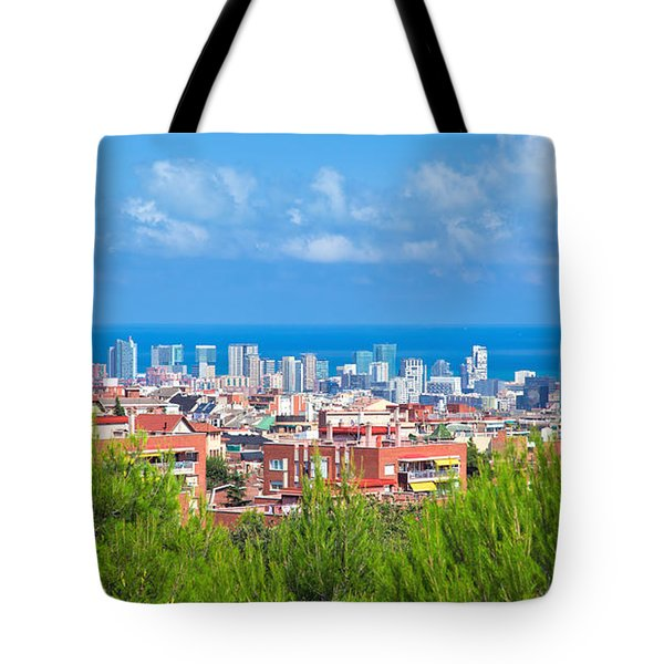 Downtown Panorama Of Barcelona Tote Bag by Michal Bednarek