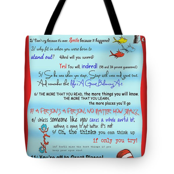 Dr Seuss - Quotes to Change Your Life Tote Bag by Georgia Fowler