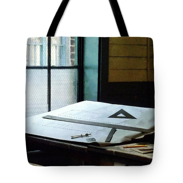 Drafting - Triangle Ruler And Compass Tote Bag by Susan Savad