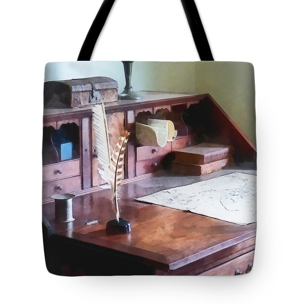 Draftsman - Cartographer's Desk Tote Bag by Susan Savad