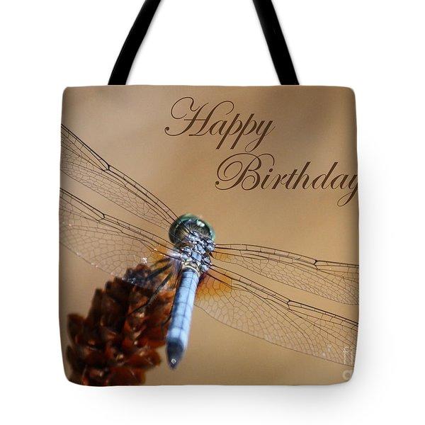 Dragonfly Birthday Card Tote Bag by Carol Groenen
