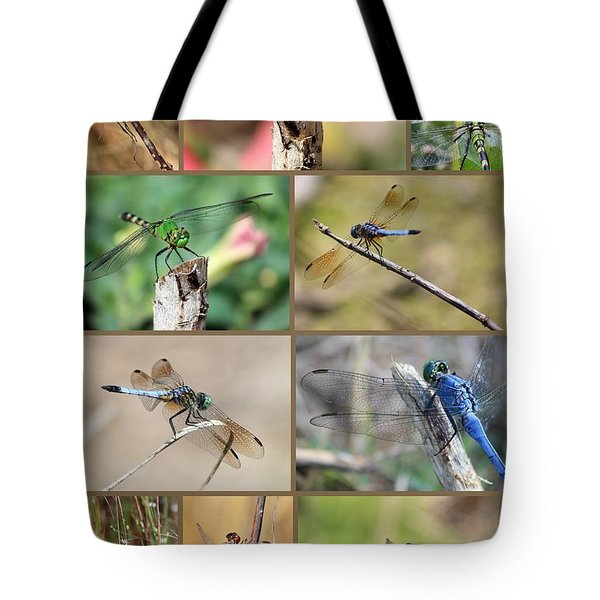 Dragonfly Collage 3 Tote Bag by Carol Groenen