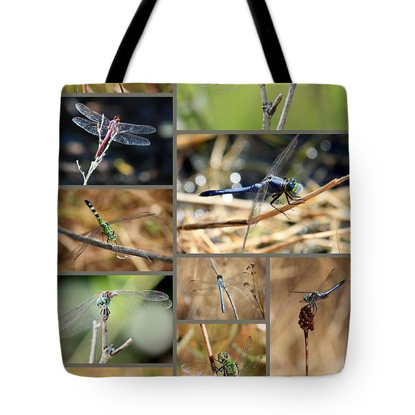 Dragonfly Collage Tote Bag by Carol Groenen