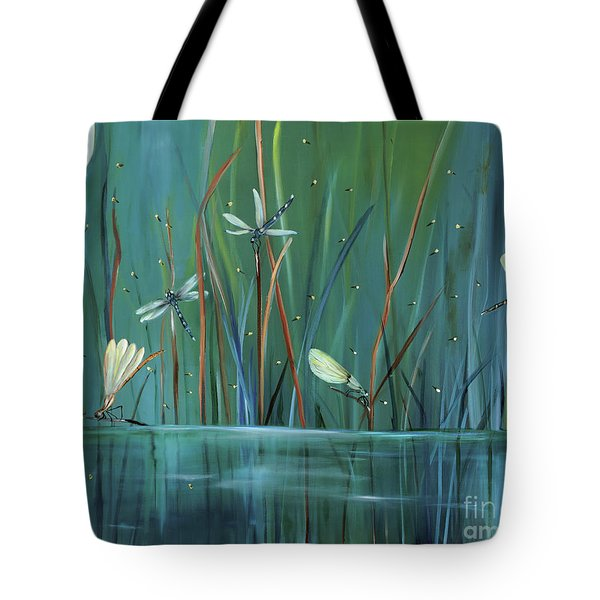 Dragonfly Diner Tote Bag by Carol Sweetwood