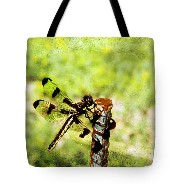 Dragonfly Eating Breakfast Tote Bag by Andee Design