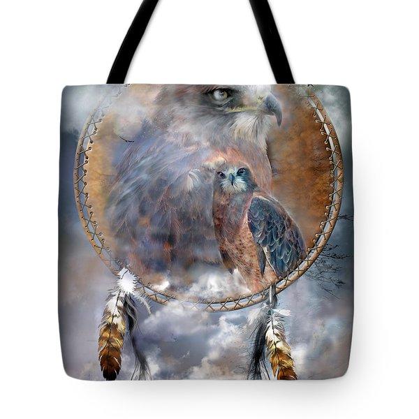 Dream Catcher - Hawk Spirit Tote Bag by Carol Cavalaris