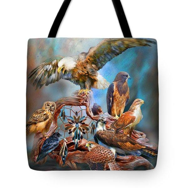Dream Catcher - Spirit Birds Tote Bag by Carol Cavalaris