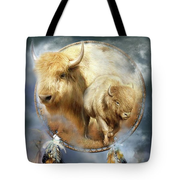 Dream Catcher - Spirit Of The White Buffalo Tote Bag by Carol Cavalaris