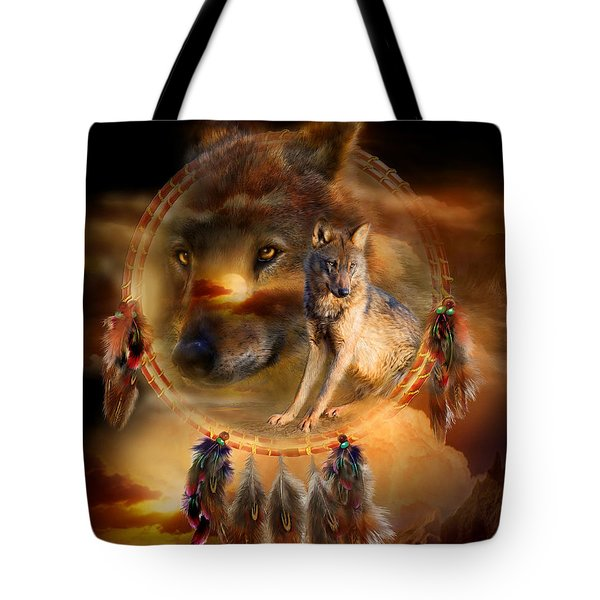 Dream Catcher - WolfLand Tote Bag by Carol Cavalaris