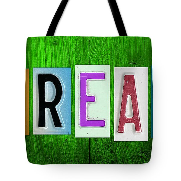 DREAM License Plate Letter Vintage Phrase Artwork on Green Tote Bag by Design Turnpike