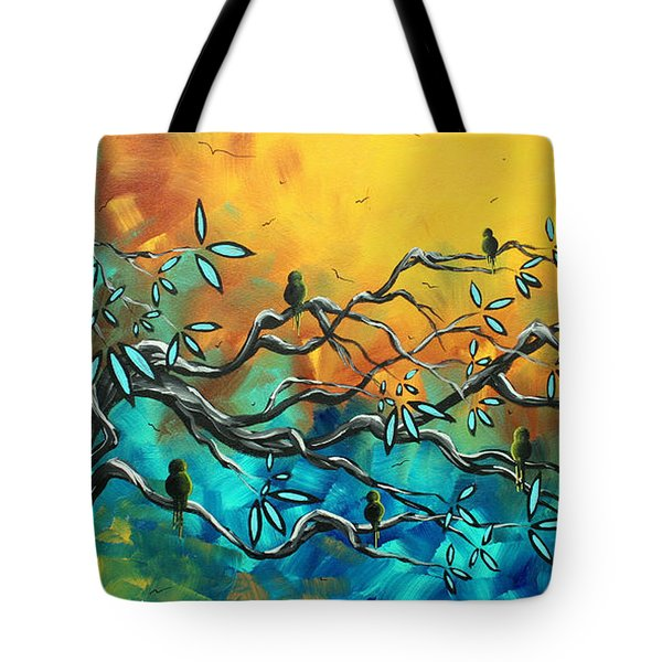 Dream Watchers Original abstract Bird Painting Tote Bag by Megan Duncanson