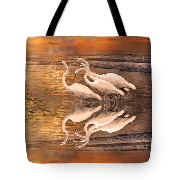 Dreaming Of Egrets By The Sea Reflection Tote Bag by Betsy C  Knapp