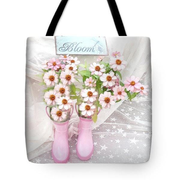 Dreamy Cottage Garden Art - Shabby Chic Pink Flowers Garden Bloom With Pink Rain Boots Tote Bag by Kathy Fornal