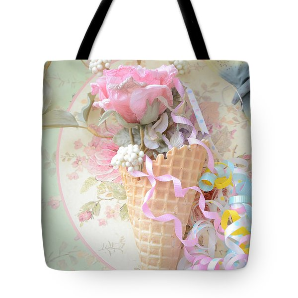 Dreamy Cottage Shabby Chic Romantic Floral Art With Waffle Cone And Party Ribbons Tote Bag by Kathy Fornal