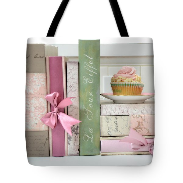 Dreamy Romantic Pastel Shabby Chic Cottage Chic Books With Pink Cupcake - Food Photography Tote Bag by Kathy Fornal