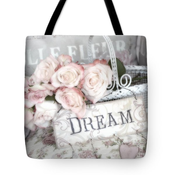 Dreamy Shabby Chic Romantic Cottage Chic Roses In White Basket  Tote Bag by Kathy Fornal