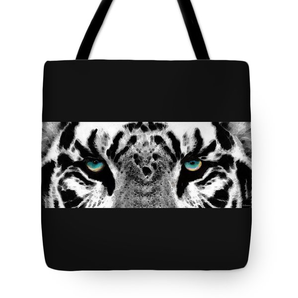Dressed To Kill - White Tiger Art By Sharon Cummings Tote Bag by Sharon Cummings